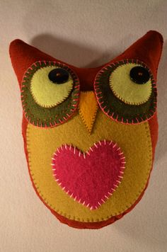 Felt Owl with Heart