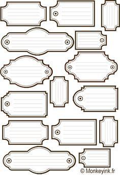 journaling spots that look like labels, tags, and drawer hardware.
