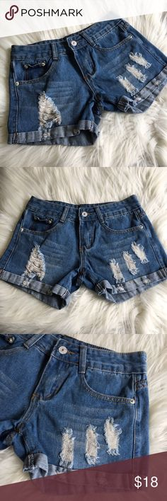 Cuffed Destructed Jean Shorts Size 26 Cute, stretchy, comfy!! Excellent condition! Shorts Jean Shorts