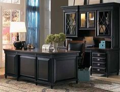 A classy home office with a beautiful black and brown two-toned desk and exquisite detailing. - Young Classics Credenza Desk and Hutch by - March 02 2019 at Home Office Space, Home Office Decor, Home Decor, Office Ideas, Office Set, Bedroom Office, Home Office Furniture Ideas, Classic Office Furniture, White Office
