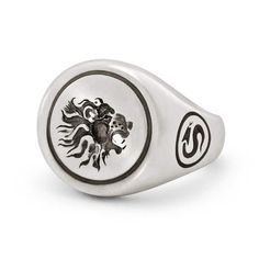 Sterling silver ring inspired by ancient signet ring designs. Solid sterling silver Oxidized matte finish Handcrafted in the USA. Purple Wedding Rings, Lion Ring, Antique Coins, Diamond Eyes, Skull Pendant, Signet Ring, Ring Designs, Sterling Silver Rings, Rings For Men