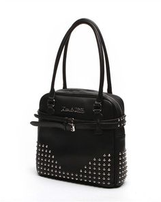 Carly Deville Small Studded Tote Black Matte