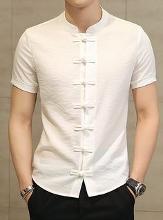 New Men's Fashion Brand Cotton Linen Short Sleeve Kung Fu Shirt Classical Chinese Tang High Quality Men's Short Sleeve Shirt-cgabuy Camisa China, Business Dress, Le Polo, Clothes 2019, Men Clothes, New Mens Fashion, Fashion Belts, Fashion Clothes, Men's Fashion Brands