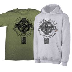 Wear your Irish pride with this awesome Celtic cross messagewear. Available in a green tee or heather grey hoodie.