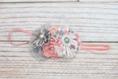 Nectar Light - headband in peach, coral/salmon pink, grey and white by SoTweetDesigns