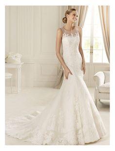 Lace Illusion Jewel Neckline Mermaid Wedding Dress with Chapel Train