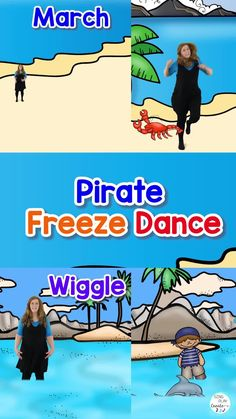 Ahoy Me Hearties! This here PIRATE FREEZE DANCE will have ye Scallywags workin' out them there wiggles lest they scuttle the ship and cause a mutiny! Arghhh! This resource is packed with gold treasure ye can use to teach the Freeze Dance activity, Music Dynamics, and Action Verbs. Not only will yer matey's (students) pillage the video activity, but they'll also plunder the HIGH-LOW, FAST-SLOW, LOUD-SOFT activities, coloring sheets, and games. Savvy? Pe Activities, Movement Activities, Kindergarten Music Lessons, Freeze Dance, Class Meetings, Action Verbs, Elementary Music, Music Classroom, Music Games