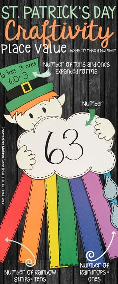 """St. Patrick's day craft and activity for place value, students show a number in different ways (tens/ones, expanded form, number, and """"quick pic"""" rainbow)"""