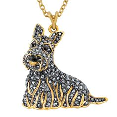 Every ounce of the Scottish Terrier's charming personality is expertly crafted and wrapped up in a spectacular fashion!  The pendant showcases the adorable likeness of Scottish Terriers with an exquisitely detailed bas-relief sculpture, lavished with 24kt gold-plating and colored enamel to perfectly capture everything from their warm eyes to their dignified pose. Stunning colored Swarovski® crystals  -- more than 100 in all -- are hand-set into this pendant for an absolutely hypnotic effect.