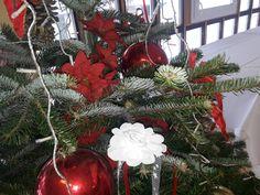 Christbaum Schmuck mit Weihnachtsstern rot Christen, Christmas Wreaths, Holiday Decor, Home Decor, Christmas Poinsettia, Stars, Trees, Red, Jewlery