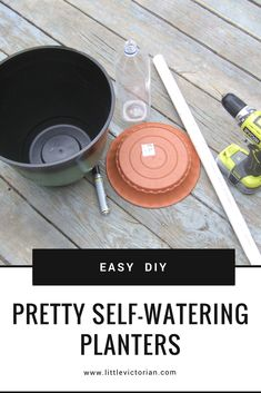 DIY self watering planter from any pot There are lots of tutorials showing how to make a self-watering planter, but most methods make pretty ugly pots from buckets. So we figured out how to turn ANY pretty pot into a self-watering planter. Self Watering Bottle, Diy Self Watering Planter, Self Watering Plants, Self Watering Containers, Potted Plants Patio, Diy Planters, Succulent Planters, Hanging Planters, Succulents Garden