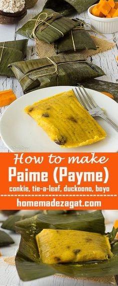Paime (payme) a sweet cornmeal pie filled with flavorful spices rolled up in a banana leaf and steamed to perfection. This recipe will take you back to a Caribbean Christmas. Also known as conkie tie-a-leaf duckoono blue drawers or boyo. Trinidadian Recipes, Guyanese Recipes, Jamaican Recipes, Carribean Food, Caribbean Recipes, Indian Food Recipes, Vegan Recipes, Cooking Recipes, Indian Desserts