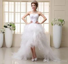 Wholesale Empire Wedding Dresses - Buy HI-Q 2014 New Fashion High Low Bride Dress White Formal Dress Royal Princess High Quality Feather Crystal Court Train Wedding Dresses, $118.69 | DHgate