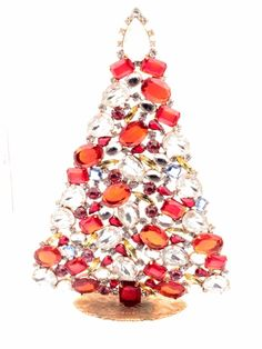 details about large handmade czech free standing glass rhinestone christmas tree ornament