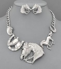 8938-Horse Themed Necklace with Earrings
