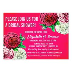 Vintage Roses Bridal Shower Invitations