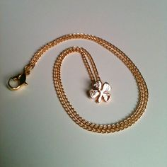 Tiny Gold Four Leaf Clover Pendant on Thin Gold by aRadboutique, $6.99