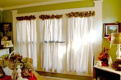 My 1929 Charmer | Burlap Wreath Trimmed Drop Cloth Curtains! | http://my1929charmer.com