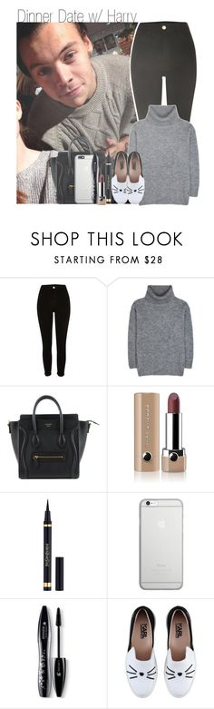 """Dinner Date w/ Harry"" by beccalynnward ❤ liked on Polyvore featuring River Island, Yves Saint Laurent, Marc Jacobs, Native Union, Lancôme and Karl Lagerfeld"