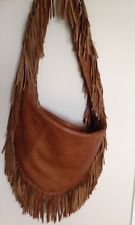 Michael Kors Walnut Leather Fringe Crescent Hobo Bag Tassle Tan Brown Zip Large