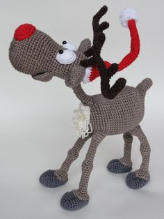 Amigurumi Crochet Pattern - Rudolf the Reindeer This is a crochet pattern and not the toy. Following this pattern Rudolf the Reindeer will be approximately 20 cm by 25 cm. The pattern is available in English. More photos available on Facebook:
