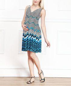 Blue & White Zigzag Maternity V-Neck Dress #zulilyfinds