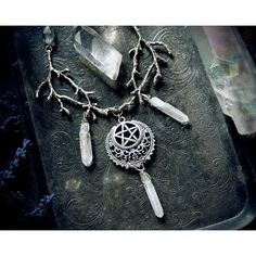 Witch Briar Necklace, pagan necklace, pentagram necklace, wiccan... (170 PLN) ❤ liked on Polyvore featuring jewelry, necklaces, quartz necklace, pentagram jewelry, quartz jewelry and pentagram necklace