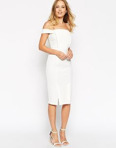 Pin for Later: The 3 White Dresses You Need For Your Wedding Weekend  ASOS Collection Pencil Dress in Texture With Off Shoulder Tab Detail (£42)