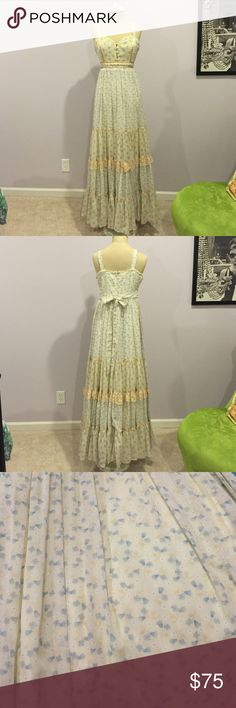 Vintage 'Gunne Sax' long dress Made by Jessica McClintock San Francisco 1970s!!! Gunne Sax Dresses Prom