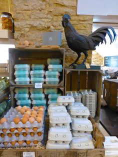 Free range eggs for sale at Daylesford Barns in the Cotswolds