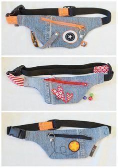xxxxx Diy Jeans, Jean Crafts, Denim Crafts, Denim Backpack, Denim Bag, Fanny Pack Pattern, Denim Ideas, Hip Bag, Recycled Denim