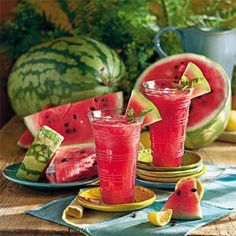 Watermelon-Lemonade Cooler 15 cups seeded and cubed watermelon 2 (12-ounce) cans frozen lemonade concentrate, thawed 2 mint sprigs Ice Garnishes: watermelon wedges, mint springs Preparation Process watermelon, in batches, in a blender or food processor until smooth. Combine concentrate and 2 mint sprigs, and cook in a saucepan over medium-high heat 10 minutes. Stir together watermelon puree and lemonade mixture; cover and chill 8 hours. Remove and discard mint.