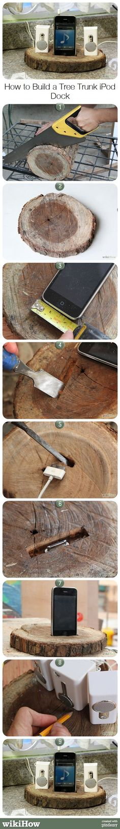 How to Build a Tree Trunk iPod Dock