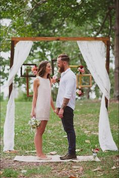 cool and simple small casual rustic wedding ceremony ideas summer wedding 25 Chic and Easy Rustic Wedding Arch Ideas for DIY Brides Wedding Tips, Trendy Wedding, Boho Wedding, Dream Wedding, Casual Wedding Decor, Wedding Decorations, Casual Wedding Dresses, Mens Casual Wedding Attire, Low Key Wedding Dress
