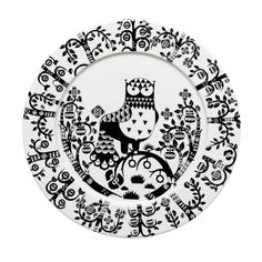 Set of 7 white and black ceramic Iittala Taika by Klaus Haapaniemi dinner plates featuring folk style woodland owl motif and brand stamp at undersides.