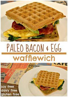 Paleo Bacon & Egg Wafflewich | Paleo Breakfast Recipe | Paleo Waffles | Gluten Free | Soy Free | Dairy Free | Recipe Redux | Paleo Egg Sandwich