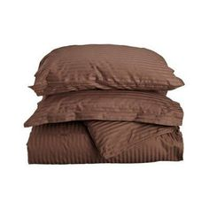 Superior 400 Thread Count Long-Staple Combed Cotton Striped Duvet Cover Set Mocha - 400FQDC STMO