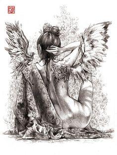 little talks by Asfahani on DeviantArt Fairy Drawings, Dark Art Drawings, Pencil Art Drawings, Art Drawings Sketches, Beautiful Fantasy Art, Dark Fantasy Art, Angel Artwork, Fairy Tattoo Designs, Angel Drawing