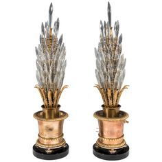 Pair of Mutual Sunset Topiary Form Brass Table Lamps with Austrian Crystals | From a unique collection of antique and modern table lamps at https://www.1stdibs.com/furniture/lighting/table-lamps/