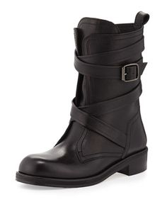 Dalston Wraparound-Strap Leather Boot, Black by Jimmy Choo at Neiman Marcus. Black Leather Boots, Black Shoes, Biker Boots, Flat Boots, Jimmy Choo Shoes, Pumps, Heels, Bootie Boots, Women's Boots