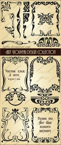 Art Nouveau design frames and borders collection. Vector set ~ Lyotta.deviantart.com on @deviantART