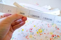 FREE Printable Bible Tabs.  I saw one journaler who printed these out, then painted them.  Lovely idea. | Our Holly Days