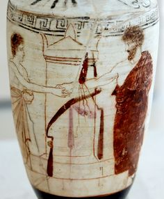 A scene of dexiosis (shaking of hands), in which a deceased man bids farewell to a living member of his family. Ancient Greek Art, Ancient Romans, Ancient Greece, Ancient History, Nemean Lion, Greek Antiquity, Greek Pottery, Black Figure, Roman History