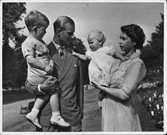Prince Charles,Prince Phillip,Princess Anne and the Queen.1950