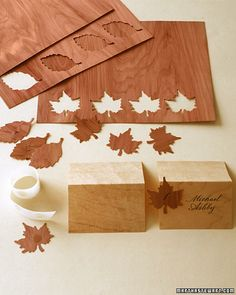 wooden seating cards - using paper thin wood veneer  Could even use just the veneer to make escort cards to hang or put in card holders