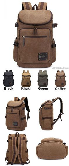 Which color do you like? Retro Zipper Men's Canvas Travel Backpack Large Capacity Camping Bag School Laptop Backpack   #backpack #Laptop #bag #school #college #camping #hiking