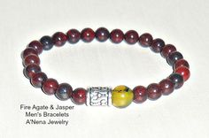 """Men's Bracelet : Fire Agate & Jasper """" Hope"""" $42"""