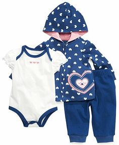 First Impressions Baby Girls' 3-Piece Bodysuit, Hoodie & Pants Set