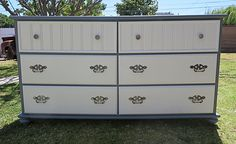 SHABBY CHIC/FRENCH PROVINCIAL DRESSER GREY/ WHITE ,6 DRAWERS