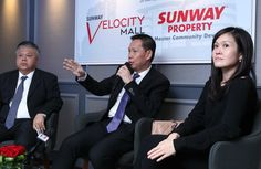 (From left) Sunway Shopping Malls COO Kevin Tan, Chan and Cheah unveiling the key partners of Sunway Velocity Mall at the Key Partners Unveiling Ceremony. (Photo by The Edge)
